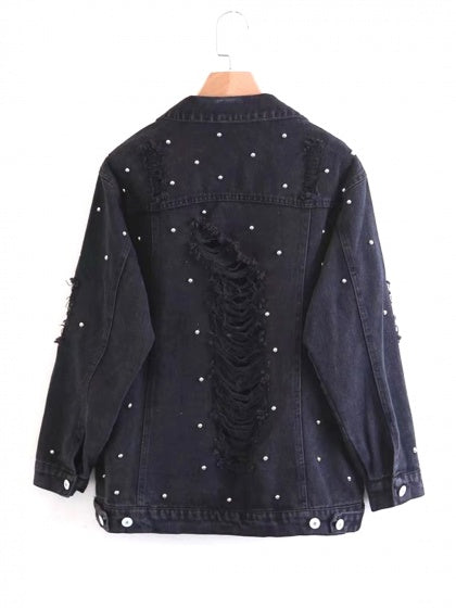 Black Beaded Distressed Detail Boyfriend Denim Jacket