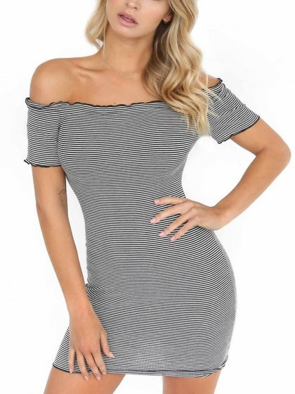 Black Stripe Off Shoulder Frill Trim Bodycon Mini Dress 292646121