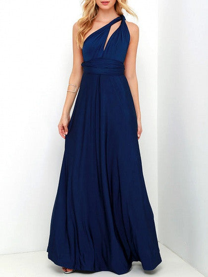 Navy Blue Multi-way Wrap Twisted Strap Maxi Party Dress