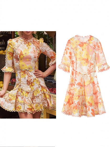 Yellow Chiffon Floral Print Ruffle Trim Flare Sleeve Lace Mini Dress