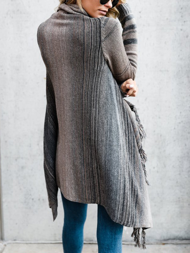 Gray Contrast Stripe Tassel Trim Long Sleeve Cardigan