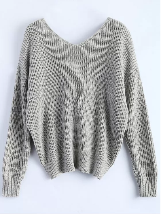 e77106d9ed86f8 V-neck Knot Twisted Back Long Sleeve Sweater – MYNYstyle