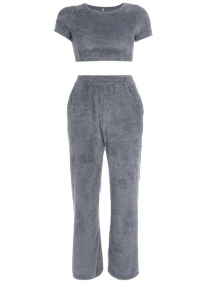 Gray V-neck Fur Detail Crop Top And High Waist Wide Leg Pants