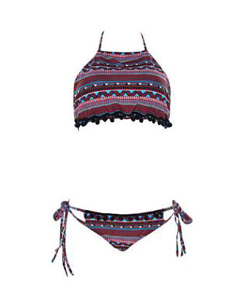Polychrome Pom Pom Trim Bikini Top And Bottom