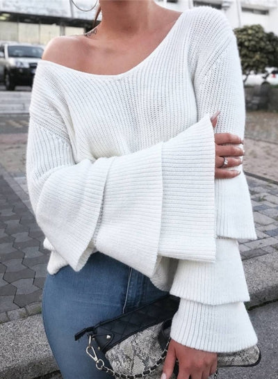3542761d2 White V Neck Layered Sleeve Rib Knit Sweater