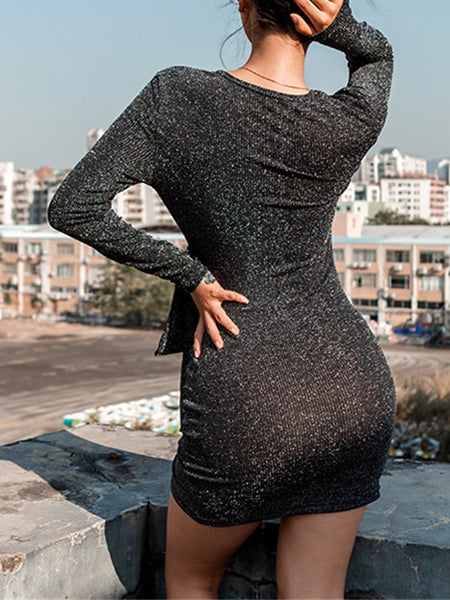 Black Plunge Tie Waist Long Sleeve Women Bodycon Mini Dress
