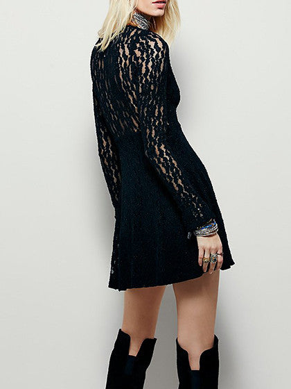 Black Cut Out Front Sheer Mesh Lace Lined Skater Dress - MYNYstyle - 1