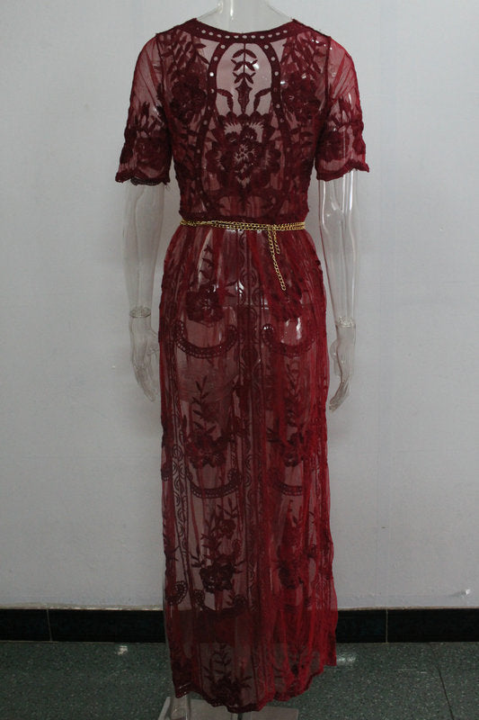 Burgundy Plunge Chain Waist Short Sleeve Split Lace Maxi