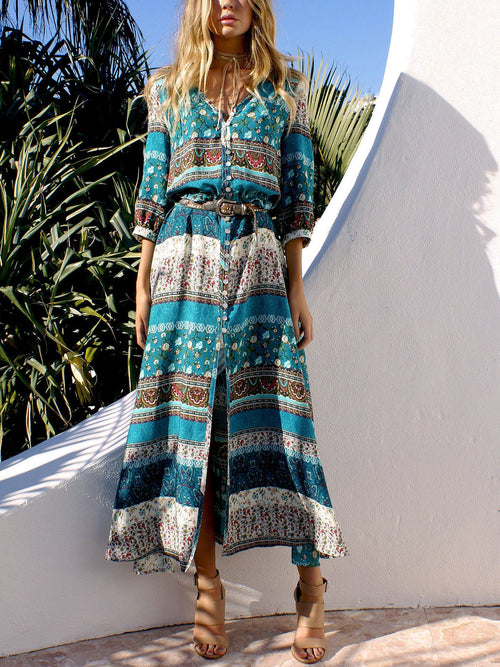 Green Tribal Print Split Maxi Dress