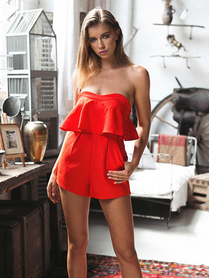Red Strapless Ruffle Romper Playsuit