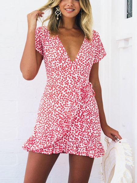 Red V-neck Floral Print Tie waist Frill Trim Mini Dress