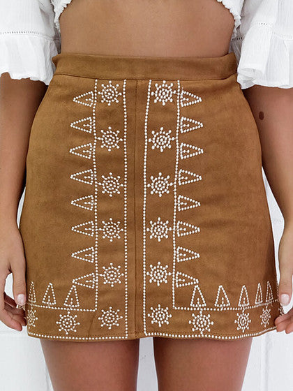 ebc26415b9 Brown Faux Suede Embroidery Pencil Skirt ...