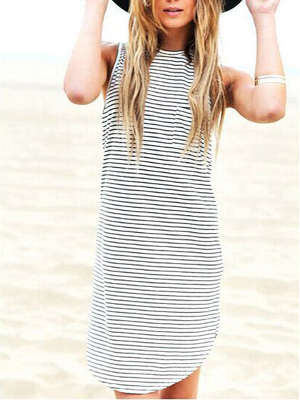 Monochrome Stripe Print Mini Shift Dress - MYNYstyle - 1