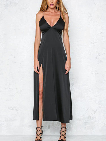Black Plunge Neck Split Side Silky Cami Midi Dress - MYNYstyle - 1