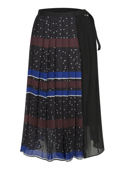 Blue and Red Contrast Stripe High Waist Pleated Midi Skirt