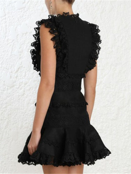 Black Plunge Lace Panel Ruffle Trim Sleeveless Women Mini Dress