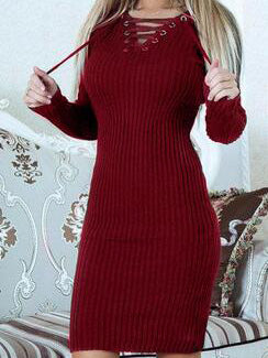 Burgundy Lace Up Front Long Sleeve Ribbed Bodycon Dress