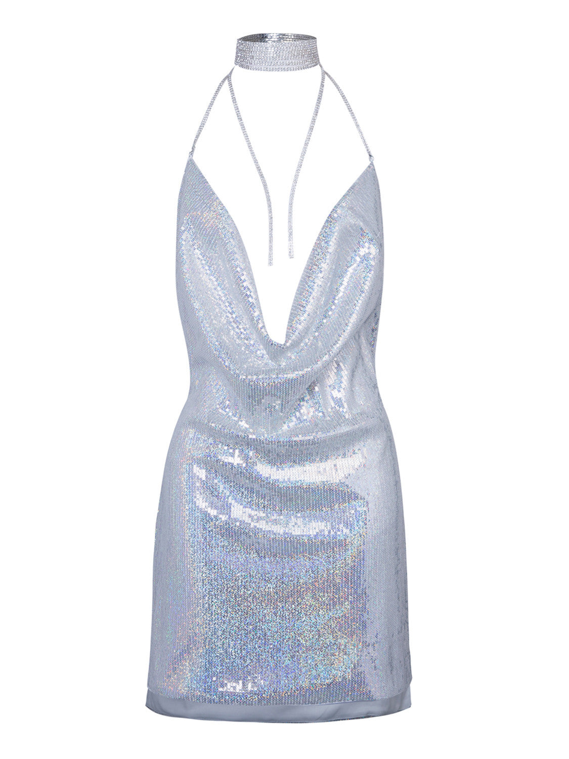 Sexy Silver Cowl Front Open Back Split Side Sequined Clubwear Bodycon Dress