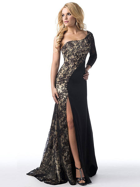 Black One Shoulder Lace Panel Thigh Split Dress