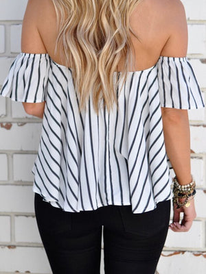 White Stripe Off Shoulder Blouse Top