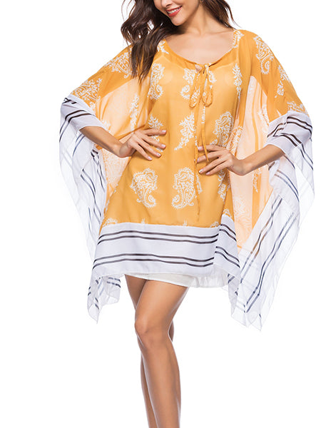 Yellow Contrast Tie Front Print Detail Poncho Dress