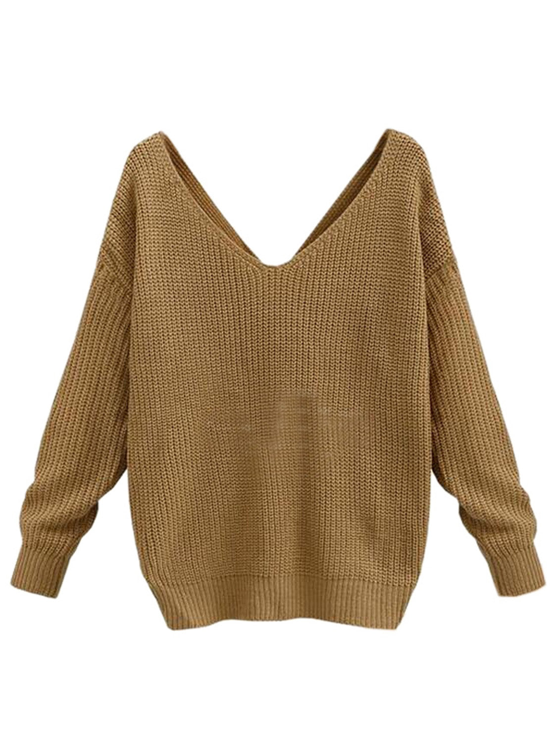 61d3ecc87 V-neck Knot Twisted Back Long Sleeve Sweater – MYNYstyle