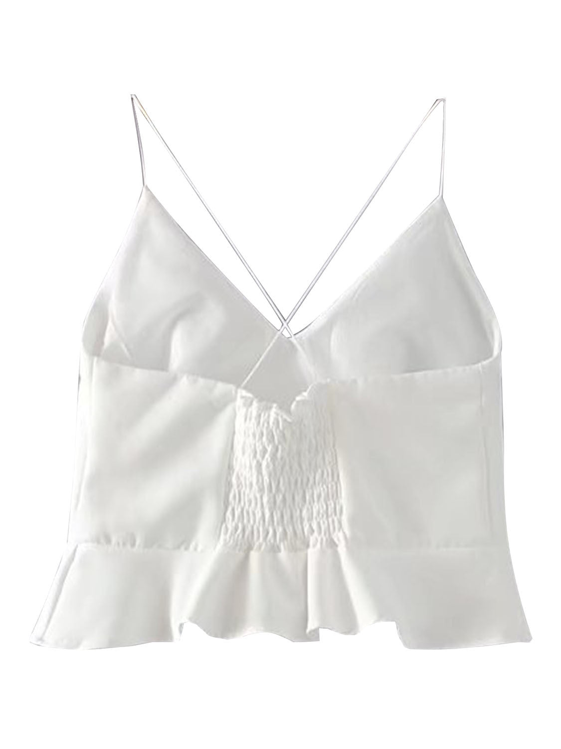 V Neck Cross Back Ruffle Hem Cami Crop Top