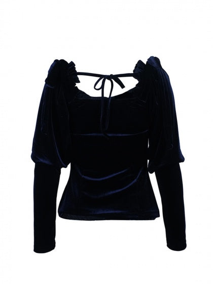 Dark Blue Velvet Asymmetric Neck Long Sleeve Women Shirt