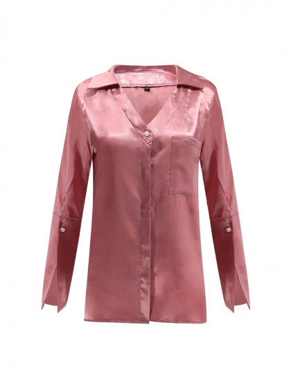 Pink V-neck Pocket Detail Long Sleeve Women Shirt