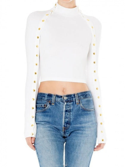 White High Neck Stud Embellished Long Sleeve Women Crop Top