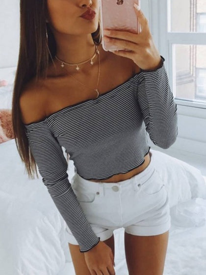 Black Stripe Off Shoulder Long Sleeve T-shirt