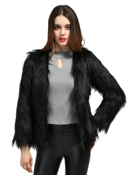 Black Fluffy Long Sleeve Faux Fur Coat