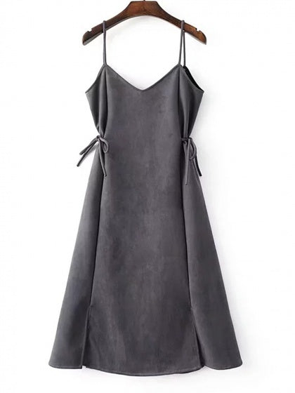 Gray Faux Suede V-neck Tie Side Spaghetti Strap Dress
