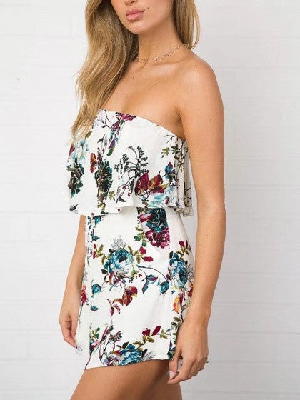 718c540830da White Bandeau Floral Print Layered Top Romper Playsuit – MYNYstyle