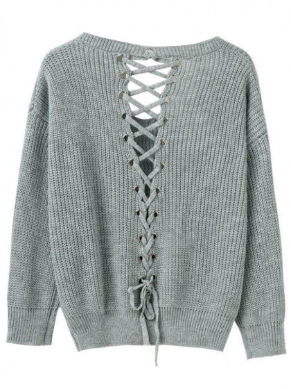 Gray V-neck Lace Up Back Knit Sweater