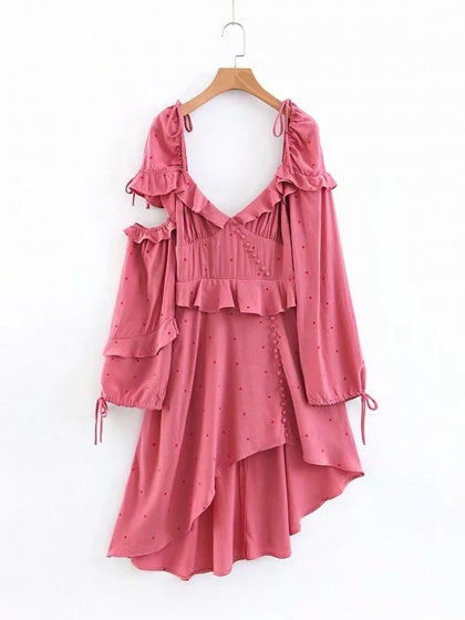 Pink V-neck Asymmetric Hem Ruffle Trim Long Sleeve Mini Dress