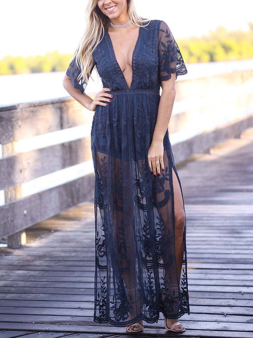 af38435287 Navy Blue Plunge Thigh Split Sheer Lace Maxi Dress