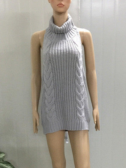 Gray Backless Turtleneck Virgin Killer Sweater Dress
