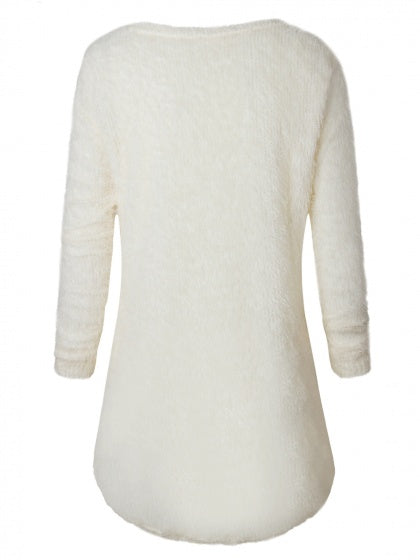 Beige Fluffy Long Sleeve Knit Sweater