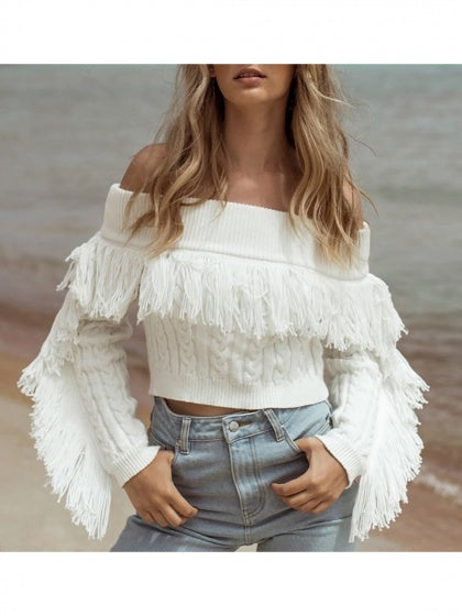 White Off Shoulder Tassel Trim Long Sleeve Women Crop Sweater