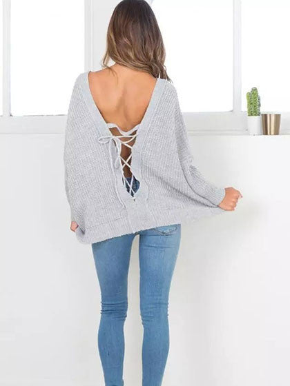 3f130173a V-neck Tie Back Long Sleeve Knit Jumper