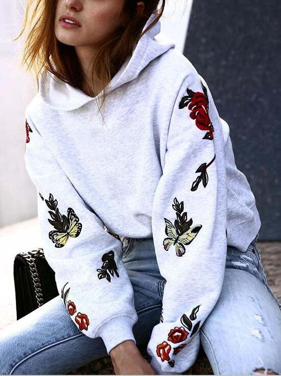 Gray Butterfly Print Fleece Long Sleeve Hoodie