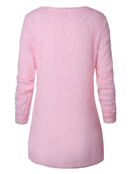 Pink Fluffy Long Sleeve Knit Sweater – MYNYstyle 690dfa194