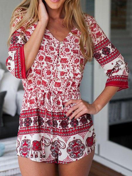 Red Floral Leaves And Elephant Print V Neck Romper Playsuit - MYNYstyle - 1