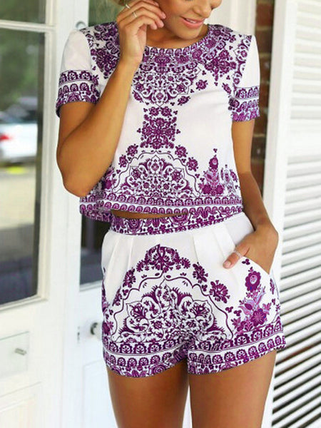 Purple Tile Print Short Sleeve Two Piece Set - MYNYstyle - 1