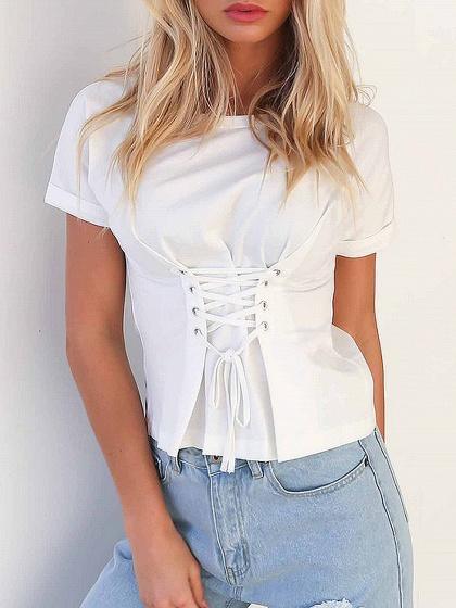 Eyelet Lace Up Front T-shirt