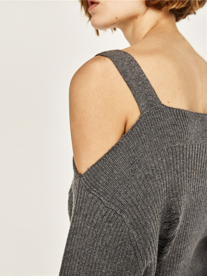 Dark Gray Square Neck Cold Shoulder Rip Detail Knit Sweater