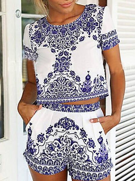 Blue Tile Print Short Sleeve Crop Top And Shorts - MYNYstyle - 1