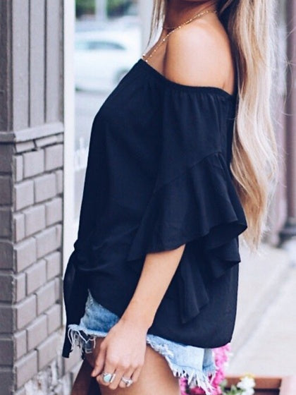 Black Chiffon Off Shoulder Tie Front Flare Sleeve Chic Women Blouse