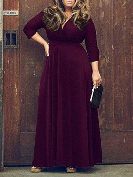 Purple V Neck 3/4 Sleeve Plus Size Skater Maxi Dress - MYNYstyle